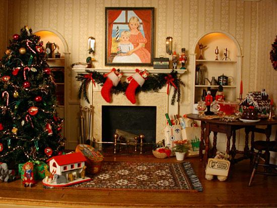 Christmas Room studio b miniatures: vignettes: christmas room #1